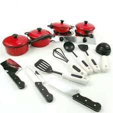 13pcs Kinder Rot Essen Küche Kochen Set Lustige Rollen Pretend Spielzeug Neu