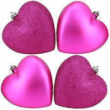 4 x 100mm Hot Pink Glitter Heart Shaped Christmas Tree Baubles (BA42)