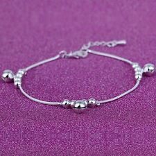 Women Fashion 925 Sterling Silver Beads Snake Chain Ankle Wrist Bangle Bracelet