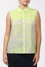 BNWT DKNY Sharp Green Paloma Print Evening Occasion Top Blouse Shirt Size XS