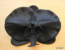 "Full 4.5"" Black Orchid Flower Poly Silk Hair Clip,Pin Up,Updo,Rockabilly,Goth"