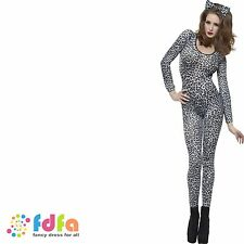 LEOPARD PRINT SEXY BODYSUIT CATSUIT - 6-14 - womens ladies fancy dress costume