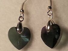 Handmade Gray Faceted Glass Heart Dropy Style Hook Earrings - Fashion Jewelry