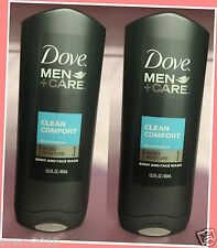 LOT 2 DOVE MEN + CARE CLEAN COMFORT BODY & FACE WASH MOISTURE 13.5 OZ EACH
