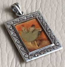 Antique Vintage 925 Silver Picture Portrait Pendant Degas Ballet Dancers Orange