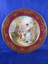 Antique Royal Vienna Plate Signed Hebrel Art Nouveau Children Cherub Woman Lute
