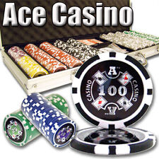 NEW 500 Piece Ace Casino 14 Gram Clay Poker Chips Set with Aluminum Case Custom