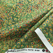 Elizabeth's Studio Peacock M404 Green Metallic 100% cotton Fabric by the yard