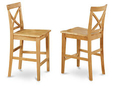 Set of 2 bar stools kitchen counter height chairs w/ wood seat in light oak