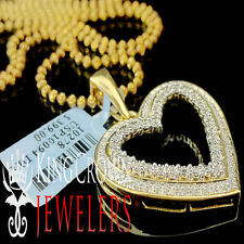 Real Diamond Heart Pendant Ladies 10K Yellow Gold Finish Round Pave Charm Chain
