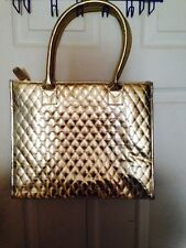 Gold Diamond Quilt Satin Purse Cosmetic Makeup Shoulder Bag Tote Xmas Gift NEW