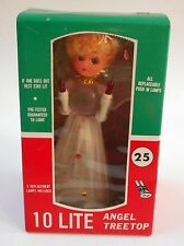 VINTAGE ANGEL TREE TOP CHRISTMAS 10 LIGHT BOX NOEL WORKS!