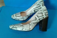 Clarks Ladies Crumble Cream Natural Snake Leather Court Shoes size 3 D NEW