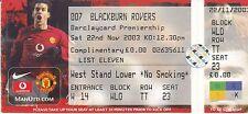 Manchester united v blackburn 22 novembre 2003 ticket