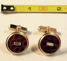 Vintage Swank Faux Leather Round Cuff Links .75 Inch Diameter