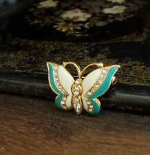 Vintage Cream and Blue Green Enamel Butterfly Brooch with Crystals. Reduced.