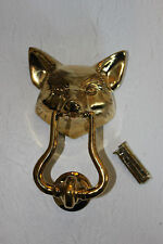 Fox (Wolf) Door Knocker (Large), Cast Brass, Polished, (5808-PBS) NOS