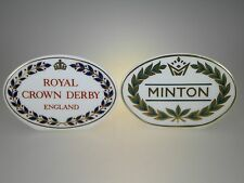 Royal Crown Derby & Minton Dealer Display Signs Set of 2 MADE IN ENGLAND