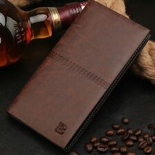 Men Leather Bifold Credit ID Card Holder Purse Clutch Long Wallet Checkbook
