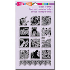 STAMPENDOUS RUBBER STAMPS CLEAR FANTASY TILES STAMP SET