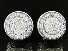 Mens Ladies White gold finish with Clear Diamond XL 15 MM Stud Earrings