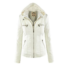 Plus Size M-2XL Women Winter PU Leather Hooded Lapel Zip Pockets Jacket Coat Top