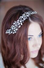 Bridal Rhinestones Hair Vine Crystals Pearls Tiara Crown Wedding Comb Headpiece