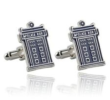 Dr. Who Police Box Blue Silver Cufflinks