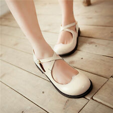 New Sweet Lolita Ivory Flats Cross Strap Heart Cut Out Mary Janes 6.5