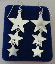 "Sterling Silver 2"" Long 55x18mm 3 Graduated Star Wire Earrings"