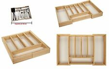 Expandable Wooden Cutlery Holder Tray Kitchen Utensil Organizer Drawer Tidy *NEW