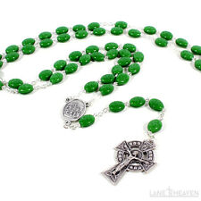 Irish Shamrock Glass Bead Rosary w/ Our Lady of Knock Ctr Piece Made in Italy