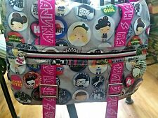 Harajuku Lovers Crossbody Messenger Bag Pink & Grey with Buttons graphic