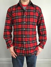 true Vtg PENDELTON RED PLAID SHIRT wool flannel tartan hunting USA S woodsman