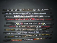 SET #4 SANTA MUERTE 10 PULSERAS NEGRAS fabric BAND wear black  FREE SHIPPING