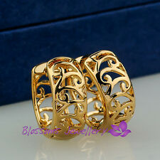 9K Yellow GOLD GF Filigree ROUND Small HUGGIE EARRINGS Womens ES607 Everyday USE