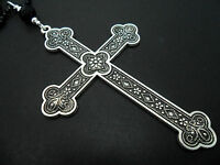 """A LOVELY BIG  CROSS/CRUCIFIX BLACK BALL CHAIN NECKLACE. GOTH. 26"""" LONG. NEW."""