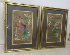 2 VINTAGE MEXICAN FOLK ART FEATHER CRAFT BIRD PICTURES  #546