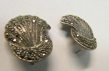 Vintage Pair of Sterling Silver Marcasite Shell Shaped Earrings