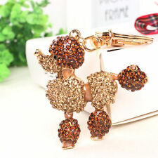 Gold Poodle Dog Lovely Charm Pendent Accesories Crystal Purse Key Ring Chain Gif