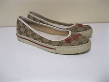 Gucci Women's canvas/leather Slip-On LOAFER Sz 37.5 U.S. size 7