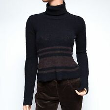 DKNY Jeans Black and Brown Striped Wool Turtle Neck Pullover PXS