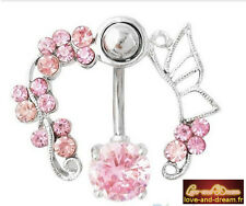 Piercing Nombril Couronne De Roses Argenté | Crown Roses Silver Navel Piercing
