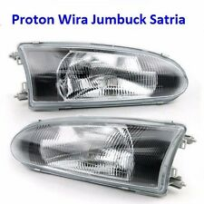 Proton Arena Jumbuck Satria Wira M21 Black Face Glass Lens Head Light Lamp 1Pair