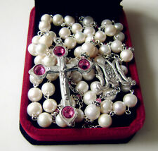 Beautiful Catholic AAA 8-9mm Real Pearl beads GIFT Rosary Cross Necklace Box