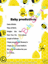 Baby Shower Game Predictions Cute BUSY  BUMBLE BEE design 20 Sheets Players