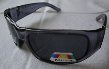 Wrap Rectangular Sunglasses Gray See through Black Lens Polarized Womens Mens