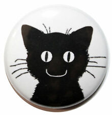 "1"" (25mm) Black Cat Button Badge Pin - MADE IN UK - High Quality"