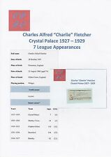 CHARLIE FLETCHER CRYSTAL PALACE 1927-1929 VERY RARE ORIGINAL HAND SIGNED CUTTING