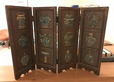 Stunning Chinese Miniature Room Divider 4-Panel Variety of Carved Soapstone Vase